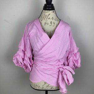 Simply couture pink/white gingham wrap shirt-NWT